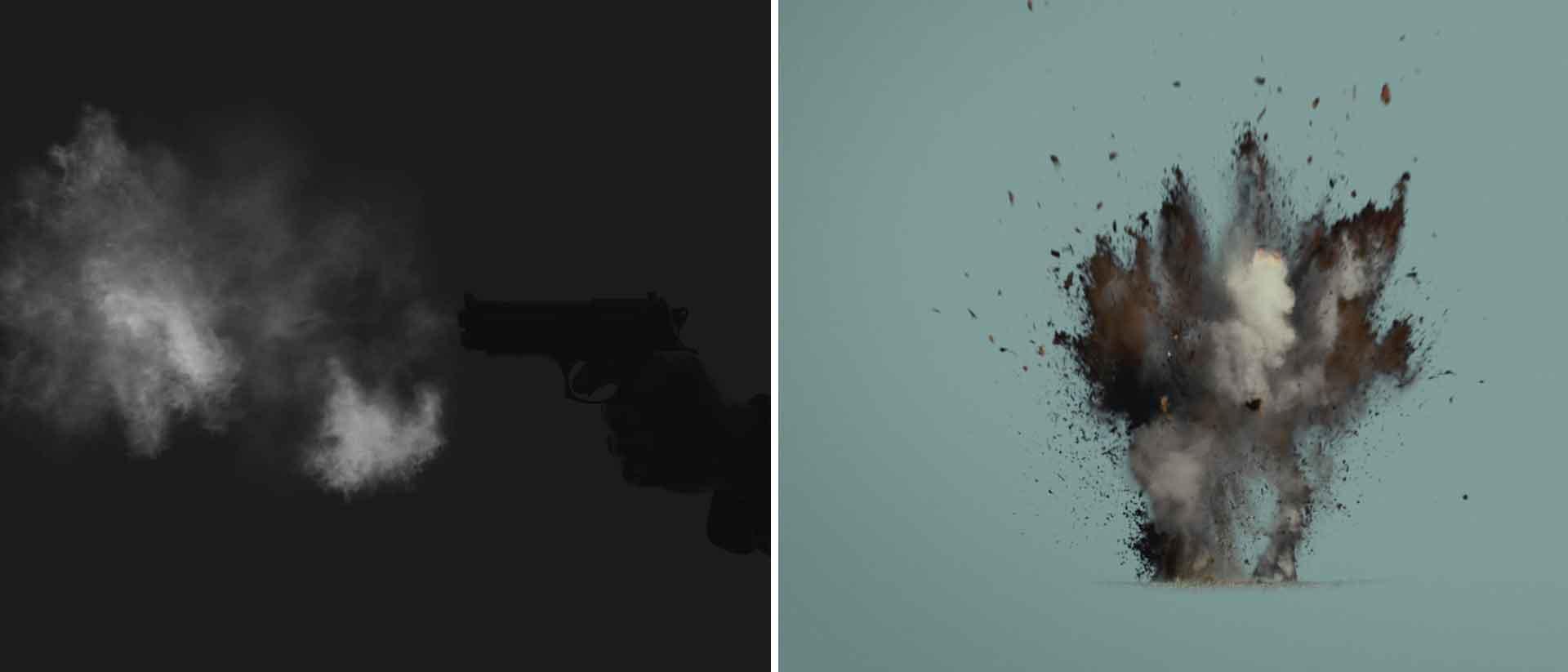 Gun smoke and dirt blasts banner v2